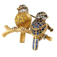 Pair of Blue Tits Pin 18k & Sapphires | Pins & Brooches | Jewelry | ScullyandScully.com