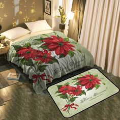 Poinsettias Add Fashion to Room& Decor Blanket Christmas Background, Poinsettia, Floor Mats, Comforters, Christmas Decorations, Room Decor, Flooring, Blanket, Bed