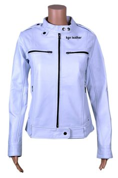 SOFT INDIAN LAMBSKIN WHITE BIKER BECKY WOMENS LEATHER JACKET (XL) -- Awesome products selected by Anna Churchill
