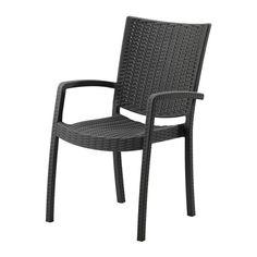 VINDALS– Chaise avec accoudoirs extérieur blanc teinté brun