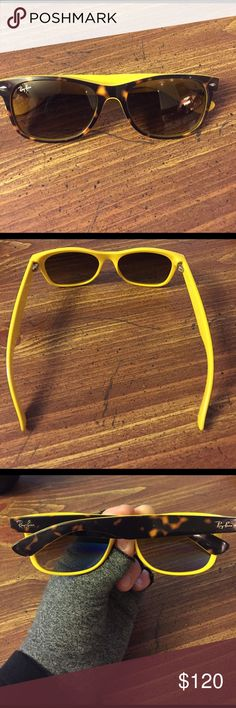 Ray-Ban New Wayfarer Classic I bought these from another Posher, & sadly they are just too large for my face (arms are too long, won't stay up😎). Beautiful condition, lightly worn, no scratches on lenses. Looking to sell, or will TRADE for a pair of Tortoise Jackie OHH's in same condition (like new). Tortoise/yellow. NON POLARIZED. Comes with case (not new) and cleaning cloth provided. Ray-Ban Accessories Sunglasses