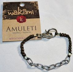 Wakami Fair Trade Amuleti Essence Macrame and Chain Bracelet