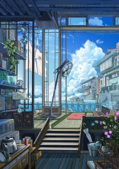 2480x3508 - anime landscape, scenic, electric fan, buildings # original resolution