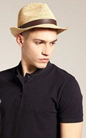 Fashion straw fedora hat for men with brown band  64364b482d7
