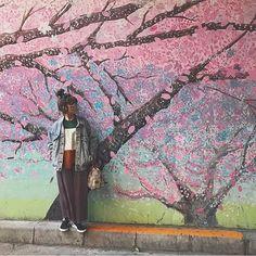 【yunchan1203】さんのInstagramをピンしています。 《一足先に春を感じて来たよ  #久々にみれいと長くいれた #幸せ #桜 #写真スポット #おすすめ #ピンク #photography  #spring  #cherryblossom #pink #flower #design #paint #outfit  #fashion  #ootd #中目黒 #camera #photo #instagood  #お出かけ #東京 #おしゃれ #花見 #壁 #デザイン #art #春  #撮影》