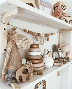 Nursery shelving with gender neutral toys Baby Nursery Decor, Baby Bedroom, Nursery Room, Girl Nursery, Girl Room, Kids Bedroom, Boho Nursery, Gender Neutral Toys, Baby Room Neutral