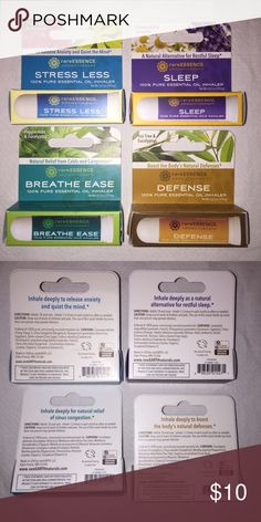 4 RareEssence 100% Pure Essential Oil Inhalers Included here are 4 RareEssence 100% Pure Essential Oil Inhalers: Stress Less (Ylang Ylang & Geranium), Sleep (Chamomile & Lavender), Breathe Ease (Peppermint & Eucalyptus), & Defense (Tea Tree & Eucalyptus). All are brand-new. If you have any questions, please ask! Other