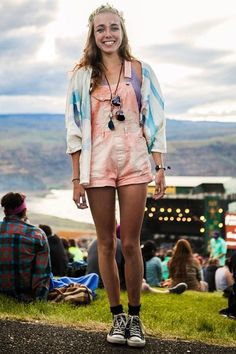 Colors, tie dye, overalls, festival, girl, fashion, hippy, boho