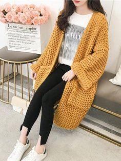 Solide lässige Wollmischung Taschen Winter Cardigan - Winter Fashion #knittingcardigan #knittingideas #strickeneinfach #strickenanleitungen