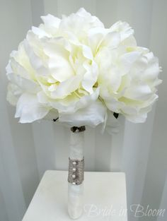 Romantic peony wedding bouquet cream by BrideinBloomWeddings