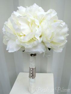 Romantic peony wedding bouquet ivory cream bridal bouquet silk wedding flowers