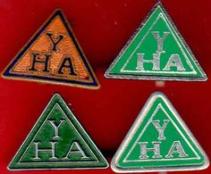 FOUR YOUTH HOSTEL ASSOCIATION BADGES.
