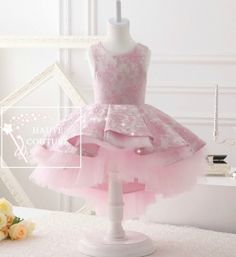 Buy Online at GIRLYSHOP.NET Beautiful & Elegant Sleeveless Round Neckline Knee Length Tiered Layered Little & Big Girl High Low Gown 1-13Y - FREE SHIPPING!