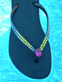 c7dfe559a07541 Havaianas Slim Flip Flops Custom Vitrail Medium jewels Glass Slippers w   Swarovski Rhinestone Bling Vintage Fuchsia Pear Teardrop Beach Shoe