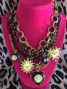 Betsey Johnson Vintage TIME FLIES Black Lucite Heart Clock Locket Necklace RARE #BetseyJohnson #Statement