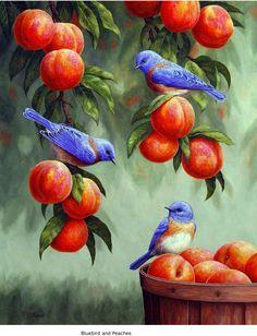 Pájaros azules con duraznos