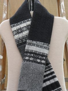 Felted Wool Scarf-black and grey by RenewedWool on Etsy
