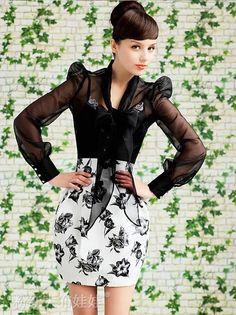 2016 novo produto departamento de preto organza arco transparente de mangas compridas das mulheres blusa nova em Blusas de Roupas e Acessórios no AliExpress.com | Alibaba Group
