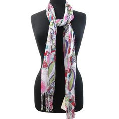 Pink red white hibiscus flowers swirls scarf shawl cover up wrap short
