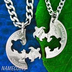 Turtle Necklace friendship necklaces Interlocking Love Necklace Set Quarter, gifts for best friends, hand cut coin on Etsy, $29.99