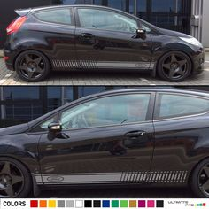 2 Decal Sticker Stripes Kit For Ford Fiesta RS ST Tailgate Headlights Vent Visor