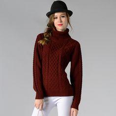 Casual High-Neck Braid Knitting Slim Sweater