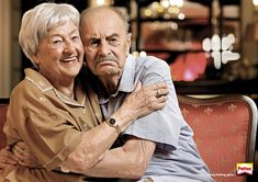 """Pattex takes the of communication is nonverbal"""" finding to its very clever ad here. What at first looks like a fairly generic picture of an elderly couple suddenly speaks volumes, once you read the """"Long-lasting glue"""" tagline at the bottom right corner. Unusual News, Bizarre News, Funny Advertising, Creative Advertising, Ads Creative, Advertising Design, Creative Ideas, Old People Love, Elderly Couples"""