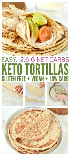 Easy healthy soft fluffy eggfree breads with only 6 ingredients. # keto Source by SkinRenewalSA No Carb Recipes, Healthy Dinner Recipes, Vegan Recipes, Cooking Recipes, Dessert Recipes, Tortillas Sans Gluten, Keto Tortillas, Coconut Flour Tortillas, Almond Flour