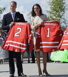Canada hockey jerseys: #1 for Kate Middleton, #2 for Prince William. Probably an alphabetical order thing. Yeah, that's it.