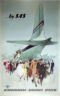 Airline/Aviation Poster: by SAS , Country: Denmark , Artist: Otto Nielsen