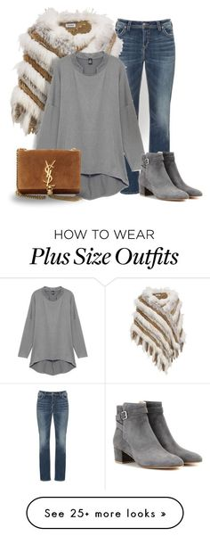 """""""Plus size fashion #feel fabulous"""" by millyfrances on Polyvore featuring Silver Jeans Co., Wilsons Leather, Gianvito Rossi, Yves Saint Laurent, women's clothing, women, female, woman, misses and juniors"""