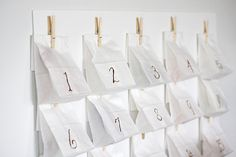I have been looking for a creative way to do an advent calendar.  I like the idea of stringing it on a rope or garland as well.