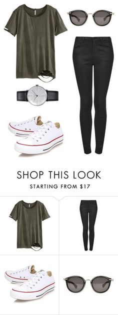 A saturday look by worldofalicin on Polyvore featuring moda, H&M, Topshop, Converse, Klein & more and Moncler
