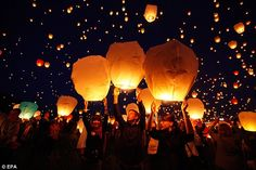 Some day I want to be a part of lighting off a bunch of these lanterns