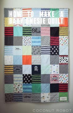 how to make a baby onesie quilt from favorite baby clothes! how to make a baby onesie quilt Quilt Baby, Onesie Quilt, Shirt Quilt, Baby Onesie, Onesies, Old Baby Clothes, Diy Clothes, Diy Baby Clothes Memory Quilt, Quilts From Baby Clothes