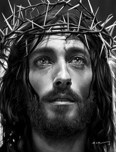 Christus Tattoo, Jesus Tattoo Design, Religion Tattoos, Tattoo Bauch, Jesus Christ Painting, Jesus Drawings, Heaven Tattoos, Sainte Therese, Pictures Of Jesus Christ
