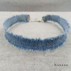 1CM Width Blue Denim Choker for Women Distressed Denim Jeans Choker Chockers Necklace Jewelry Collier C345