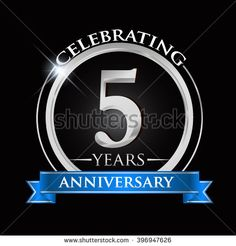 Celebrating 5 years anniversary logo. with silver ring and blue ribbon. - stock vector