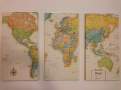 DIY world map canvas. Could wrap cork board with map...
