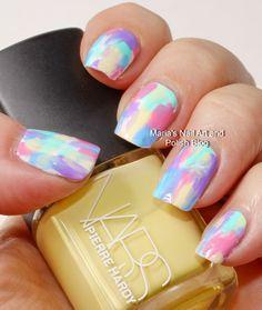 Pastel brush stroke nail art
