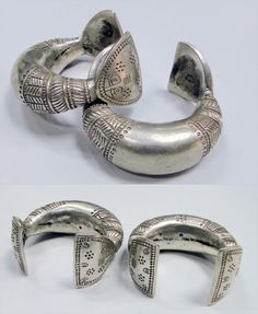 India | Pair of old silver anklet bracelets | Rajasthan | 1,430$ for the pair