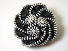 zipper flower brooch, zipper brooch, recycle jewelry, zipper jewelry via Etsy