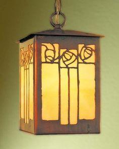 "James Mattson Coppercraft - Rose Pendant Lantern. Acid-Etched Copper & Amber Art Glass. California. Circa Early-21st Century. 9-1/2"" x 6-1/2""."