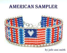 Julie Ann Smith Designs AMERICAN SAMPLER Odd Count Peyote Bracelet Pattern