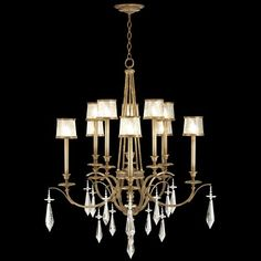 Fine Art Lamps Monte Carlo 567640ST Two-tier chandelier in gently worn gold leaf finish. Features brilliant crystal drops and hand blown swirled crystal shades in gilded frames.
