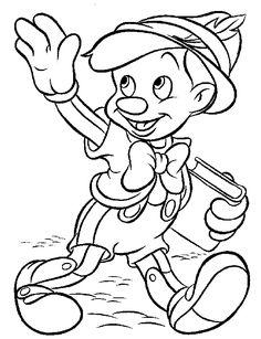 Descargar e imprime este dibujo para colorear de Pinocho, un clásico Disney :)