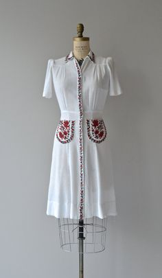 Volgye dress vintage 1940s dress white folk by DearGolden