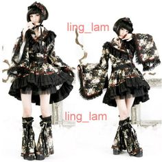 FreeShip-Punk-Gothic-Lolita-kimono-BLOSE-SKIRT-Warmer-Q114-BLACK-FLORAL