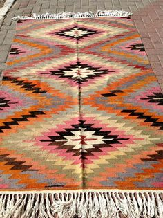 "VINTAGE Turkish Kilim Rug Carpet, Handwoven Kilim Rug, Antique Kilim Rug,Decorative Kilim, Natural Wool 79"" X ""50 by PergamonArt on Etsy"
