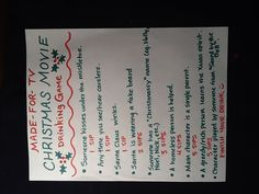 Made for TV Christmas movie drinking game! Turn this into a exercise game Merry Little Christmas, Family Christmas, All Things Christmas, Christmas Holidays, Christmas Ideas, Happy Holidays, Jolly Holiday, Holiday Fun, Holiday Ideas